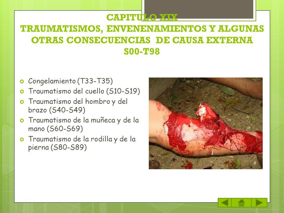 CAPITULO XIX TRAUMATISMOS, ENVENENAMIENTOS Y ALGUNAS OTRAS CONSECUENCIAS DE CAUSA EXTERNA S00-T98