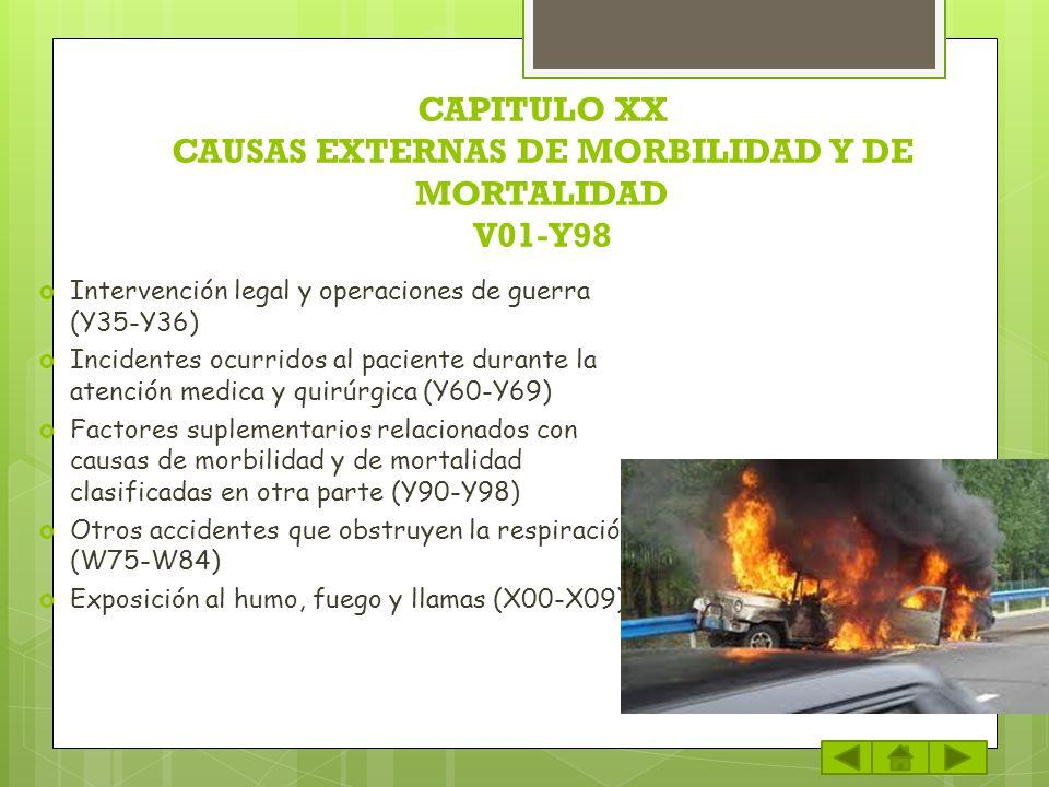 CAPITULO XX CAUSAS EXTERNAS DE MORBILIDAD Y DE MORTALIDAD V01-Y98