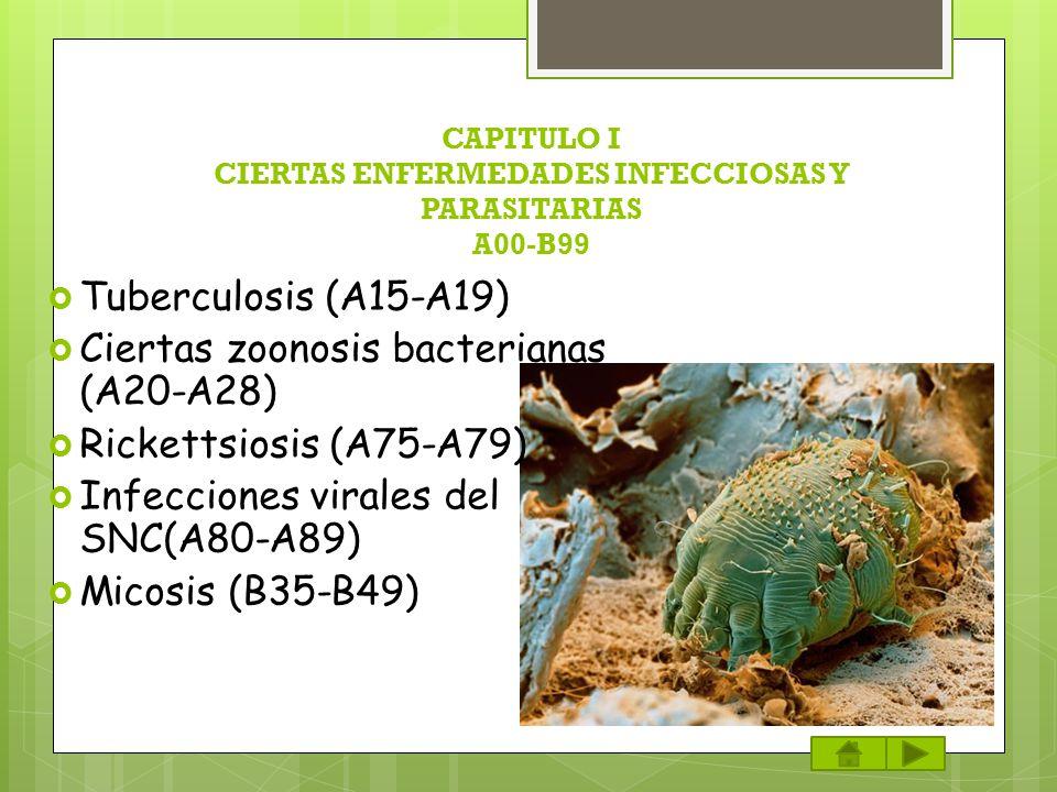 CAPITULO I CIERTAS ENFERMEDADES INFECCIOSAS Y PARASITARIAS A00-B99