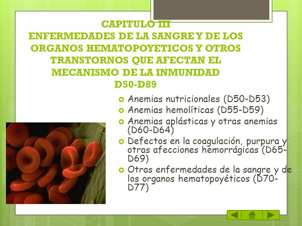 CAPITULO III ENFERMEDADES DE LA SANGRE Y DE LOS ORGANOS HEMATOPOYETICOS Y OTROS TRANSTORNOS QUE AFECTAN EL MECANISMO DE LA INMUNIDAD D50-D89