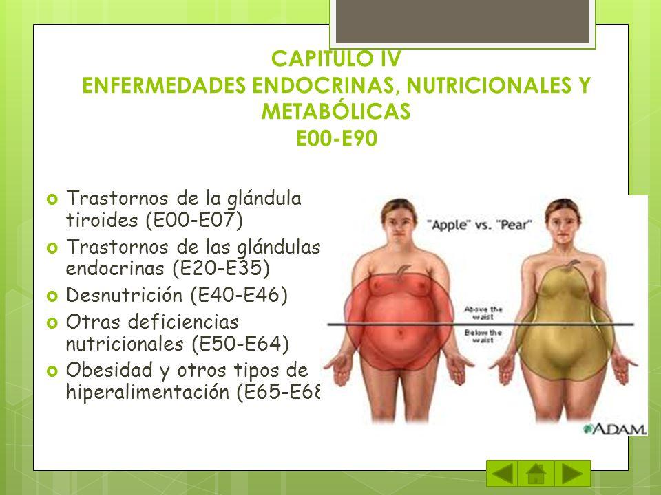 CAPITULO IV ENFERMEDADES ENDOCRINAS, NUTRICIONALES Y METABÓLICAS E00-E90