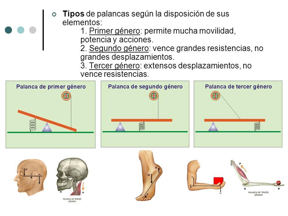 Tipos de palancas según la disposición de sus elementos:. 1