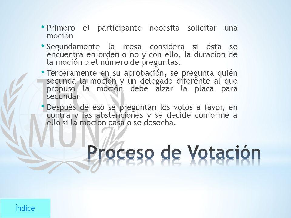 Primero el participante necesita solicitar una moción