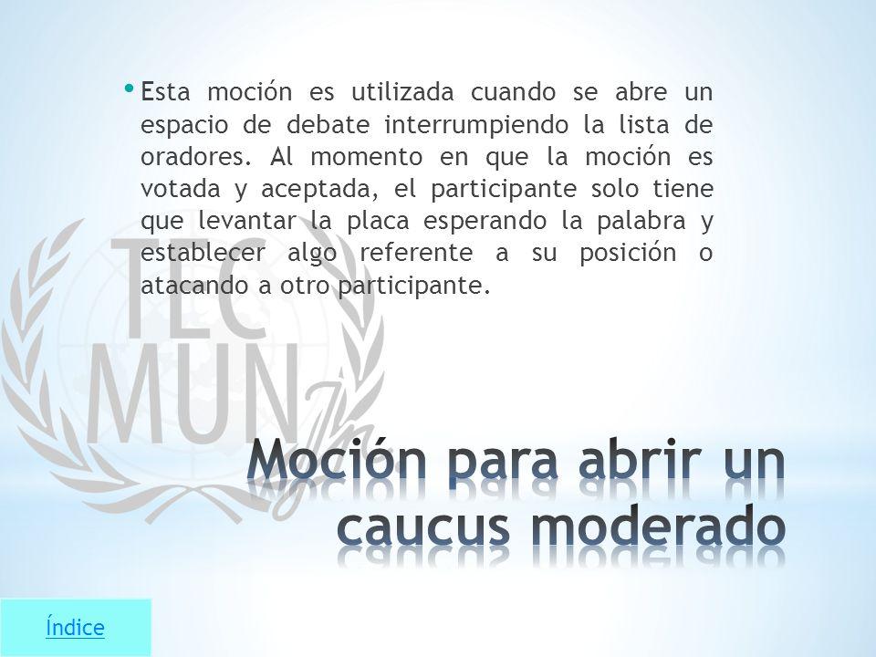 Moción para abrir un caucus moderado