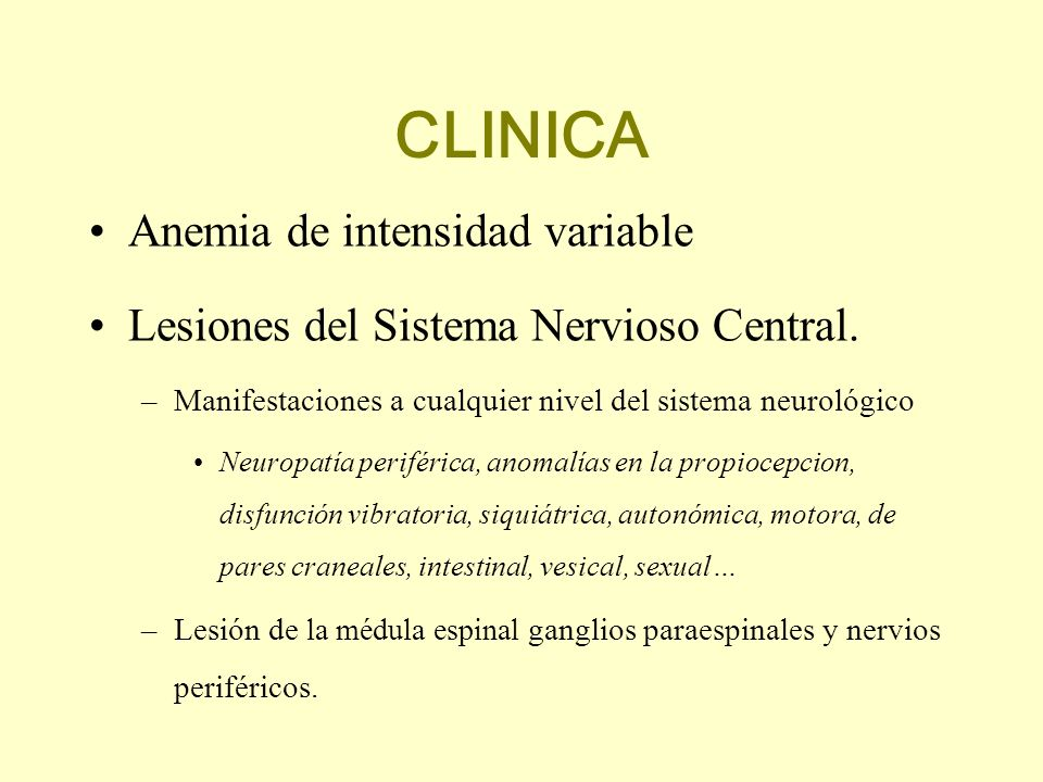 CLINICA Anemia de intensidad variable