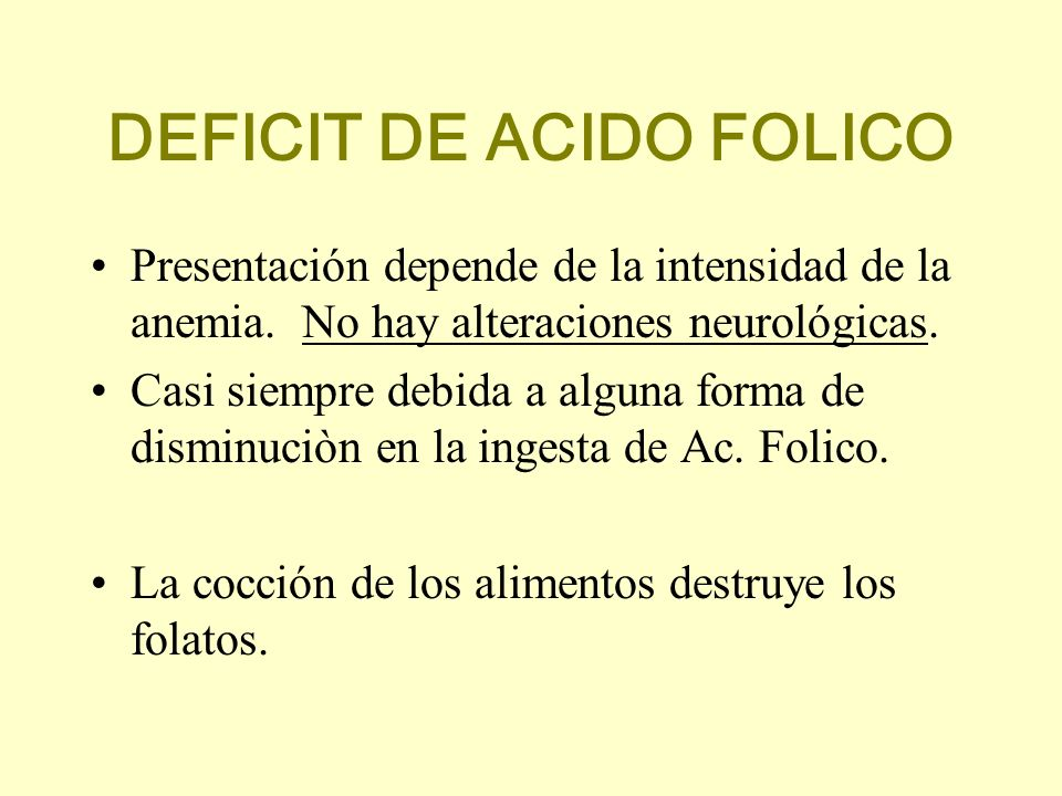 DEFICIT DE ACIDO FOLICO