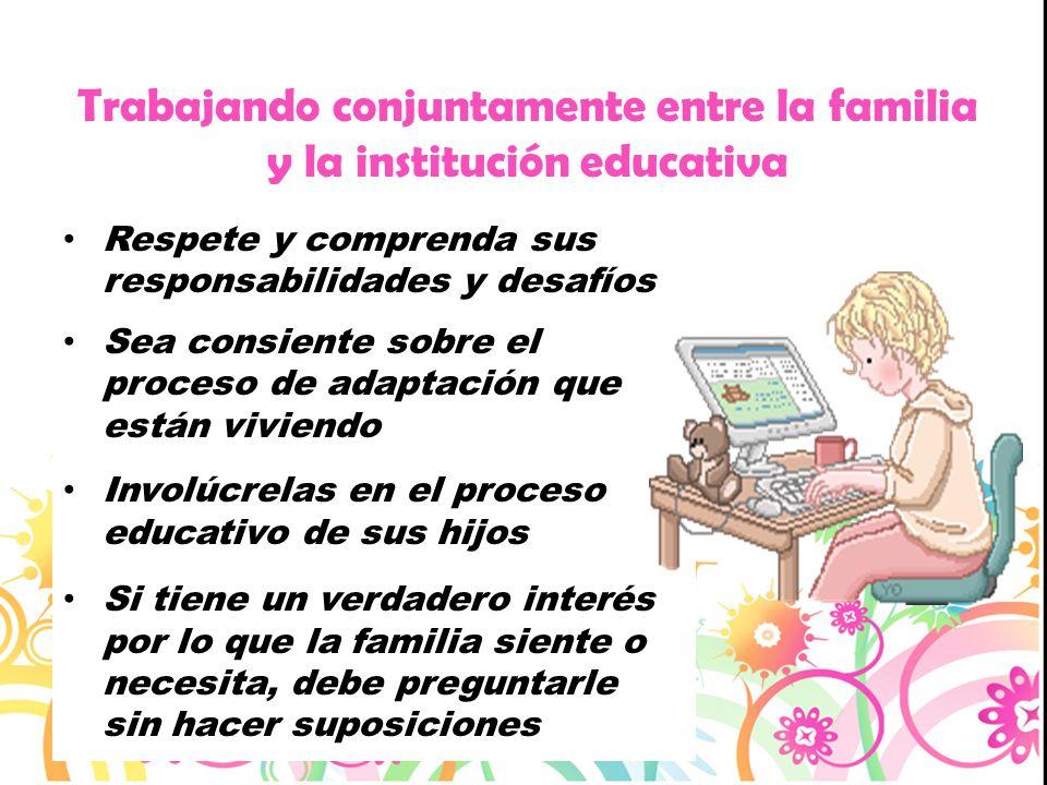 Trabajando conjuntamente entre la familia y la institución educativa
