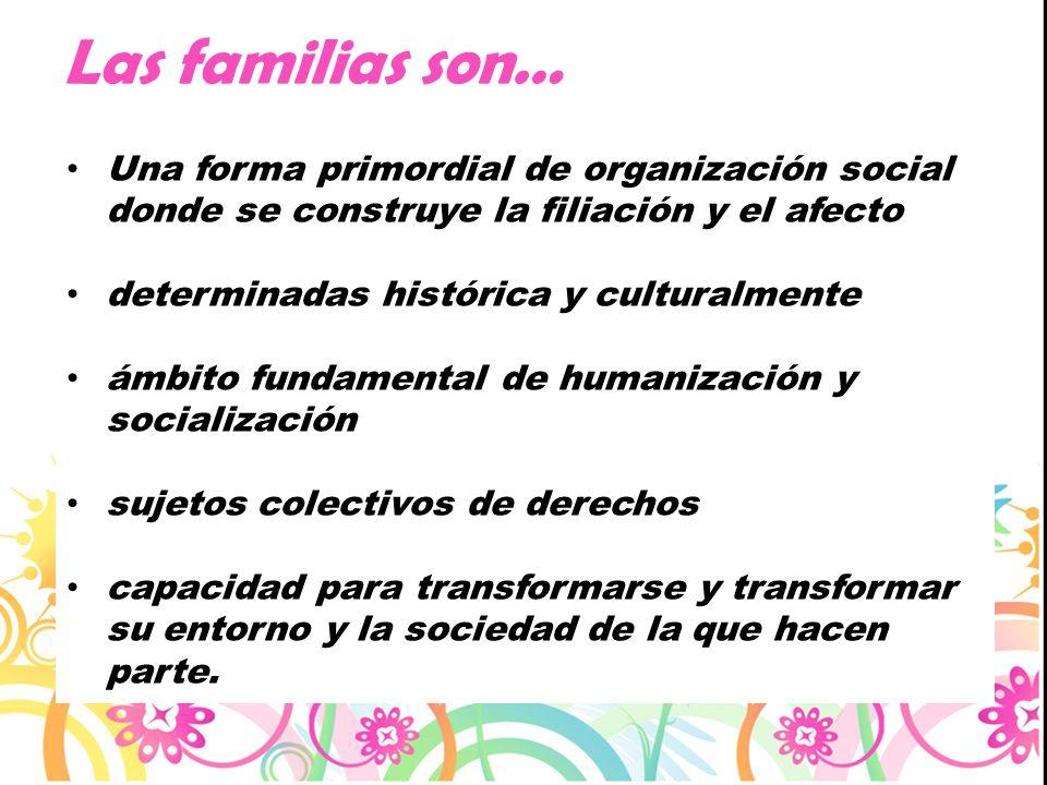 Las familias son… Una forma primordial de organización social donde se construye la filiación y el afecto.