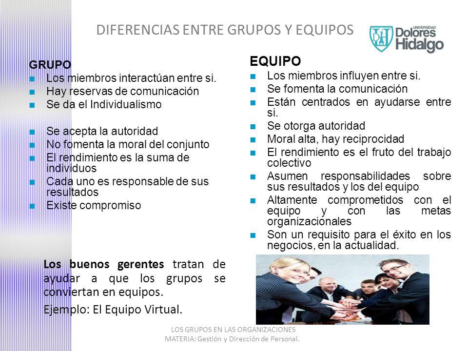 DIFERENCIAS ENTRE GRUPOS Y EQUIPOS