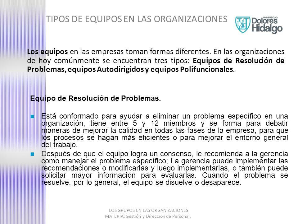 TIPOS DE EQUIPOS EN LAS ORGANIZACIONES