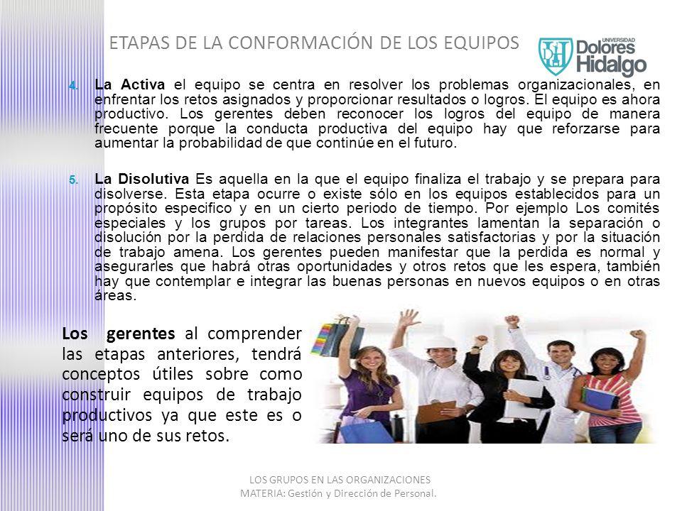 ETAPAS DE LA CONFORMACIÓN DE LOS EQUIPOS