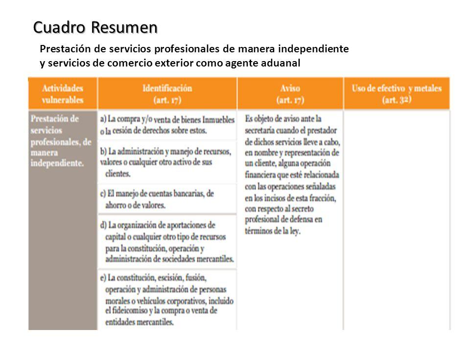 Cuadro Resumen Prestación de servicios profesionales de manera independiente y servicios de comercio exterior como agente aduanal.