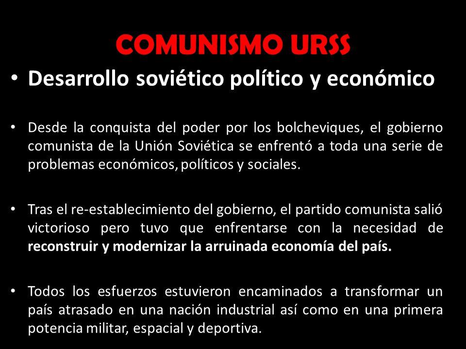COMUNISMO URSS Desarrollo soviético político y económico