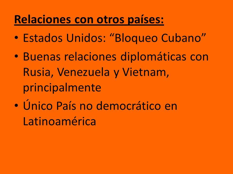 Relaciones con otros países: