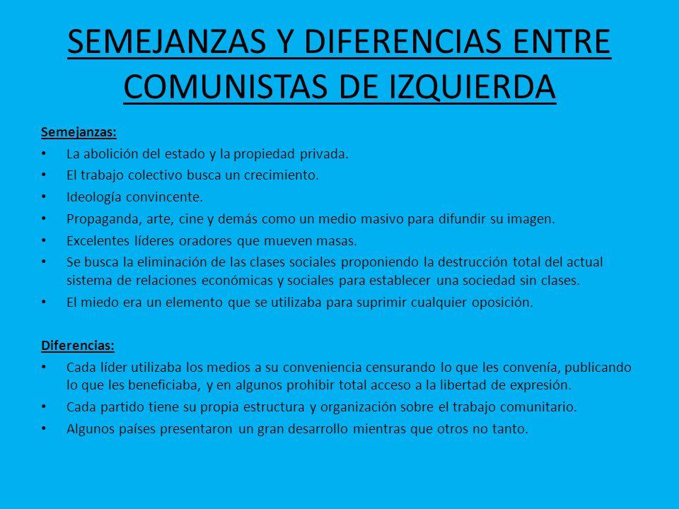 SEMEJANZAS Y DIFERENCIAS ENTRE COMUNISTAS DE IZQUIERDA