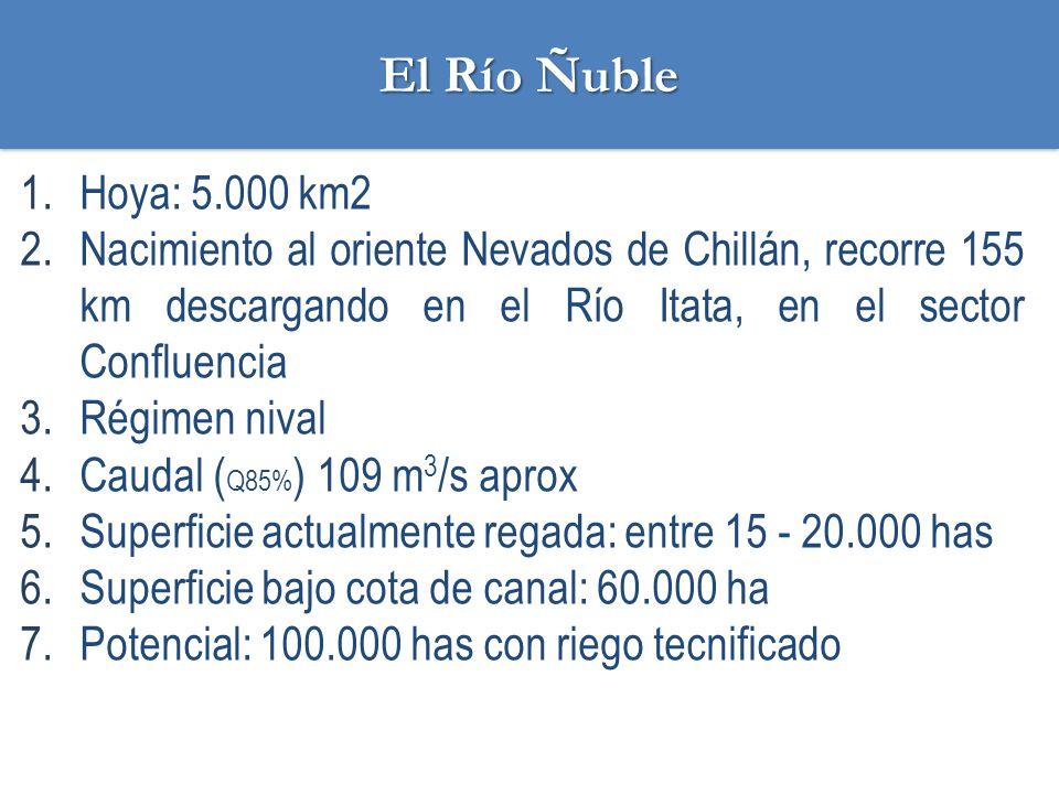 El Río Ñuble Hoya: 5.000 km2. Nacimiento al oriente Nevados de Chillán, recorre 155 km descargando en el Río Itata, en el sector Confluencia.