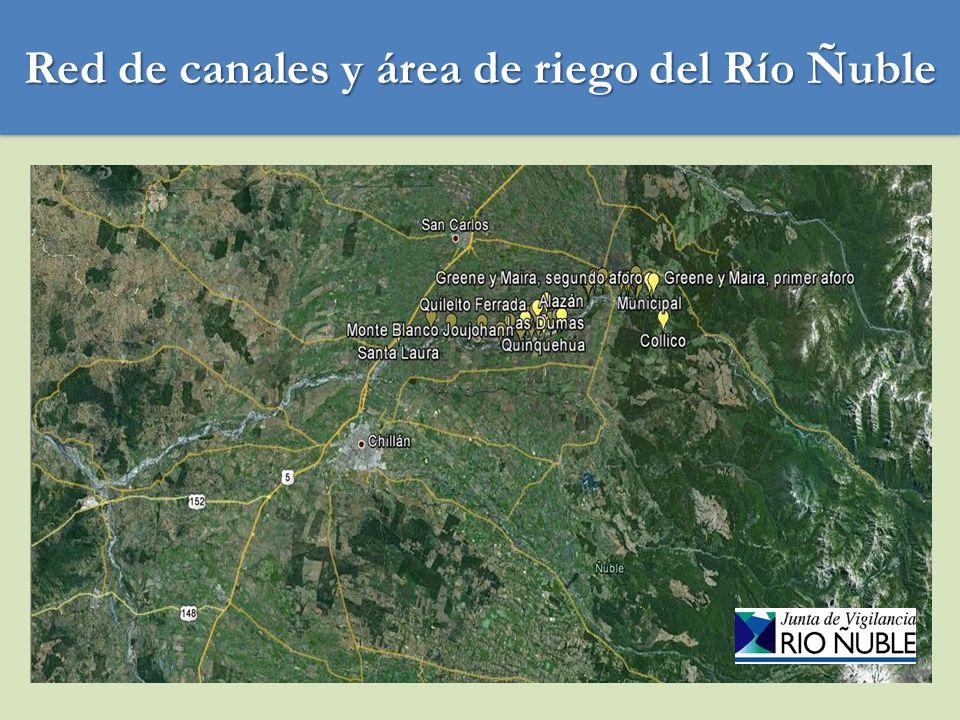 Red de canales y área de riego del Río Ñuble