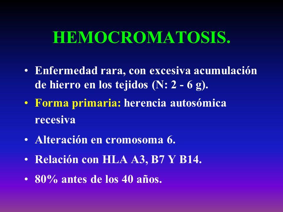 HEMOCROMATOSIS. Enfermedad rara, con excesiva acumulación de hierro en los tejidos (N: 2 - 6 g). Forma primaria: herencia autosómica recesiva.