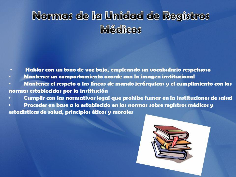 Normas de la Unidad de Registros Médicos