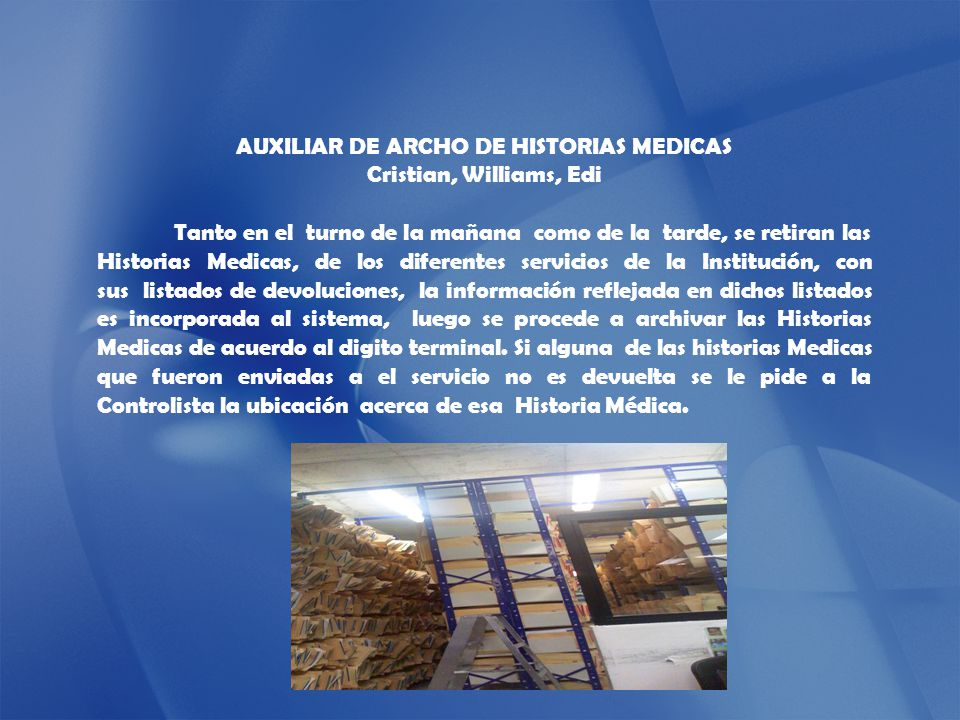 AUXILIAR DE ARCHO DE HISTORIAS MEDICAS