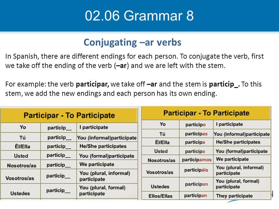 02.06 Grammar 8 Conjugating –ar verbs