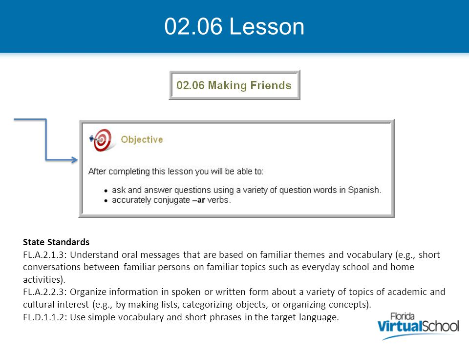 02.06 Lesson State Standards