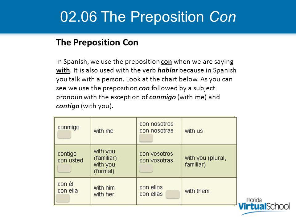 02.06 The Preposition Con The Preposition Con