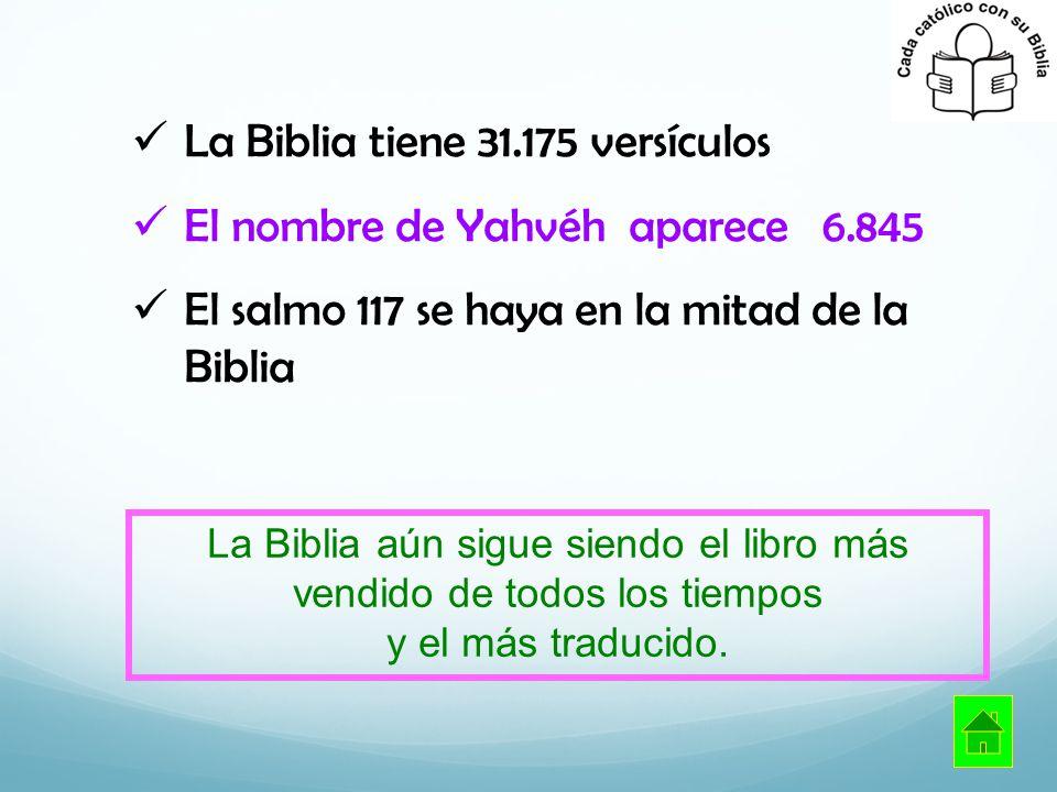 La Biblia tiene 31.175 versículos El nombre de Yahvéh aparece 6.845