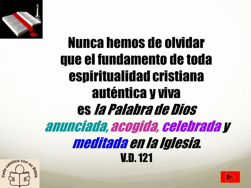 Nunca hemos de olvidar que el fundamento de toda espiritualidad cristiana auténtica y viva es la Palabra de Dios anunciada, acogida, celebrada y meditada en la Iglesia.