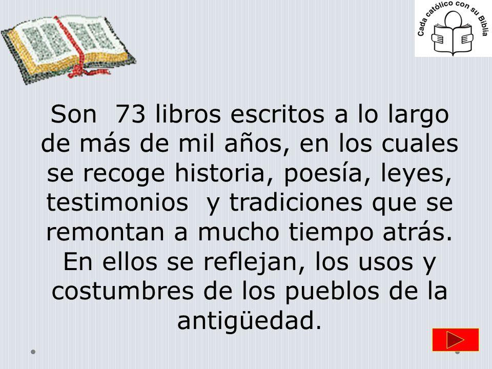 Son 73 libros escritos a lo largo de más de mil años, en los cuales se recoge historia, poesía, leyes, testimonios y tradiciones que se remontan a mucho tiempo atrás.