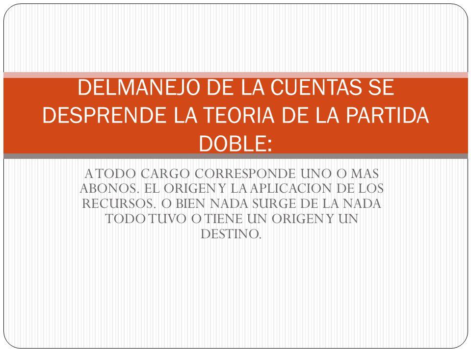 DELMANEJO DE LA CUENTAS SE DESPRENDE LA TEORIA DE LA PARTIDA DOBLE: