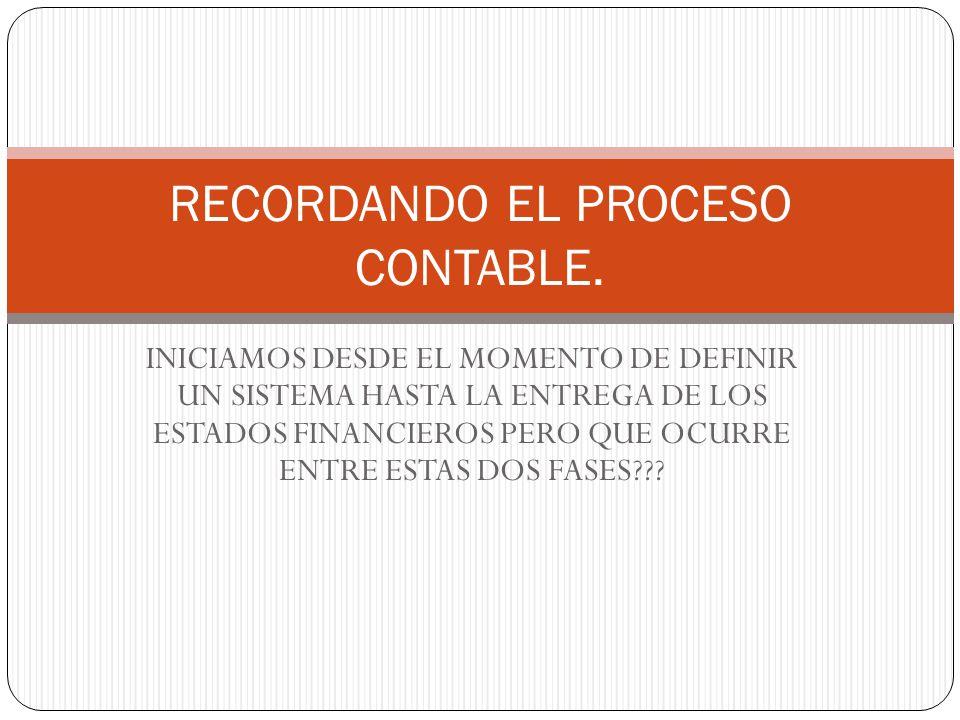 RECORDANDO EL PROCESO CONTABLE.