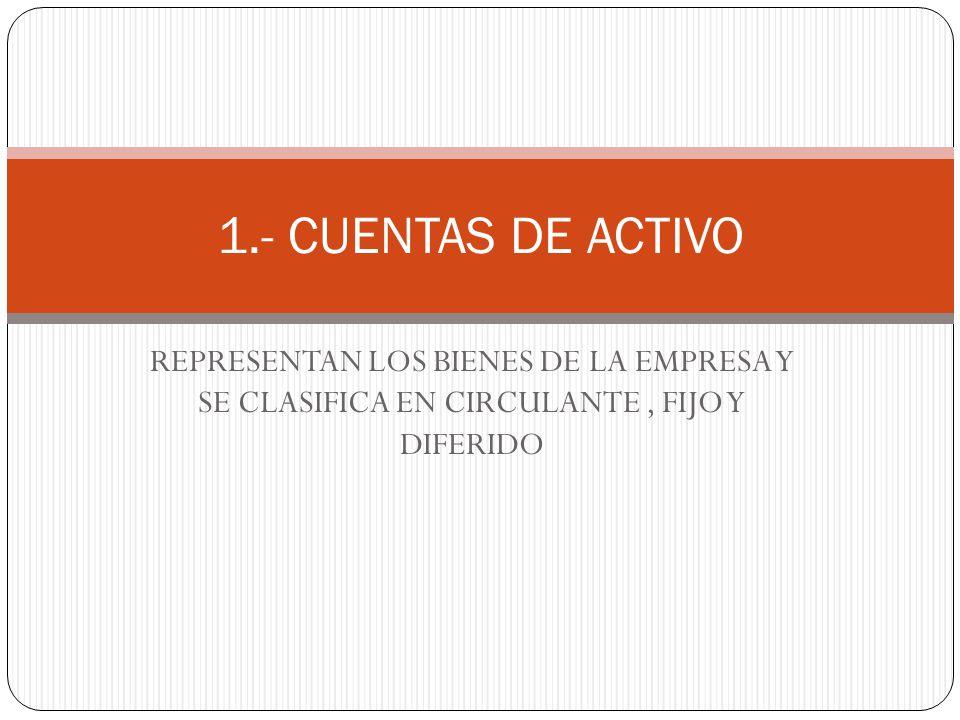 1.- CUENTAS DE ACTIVO REPRESENTAN LOS BIENES DE LA EMPRESA Y SE CLASIFICA EN CIRCULANTE , FIJO Y DIFERIDO.