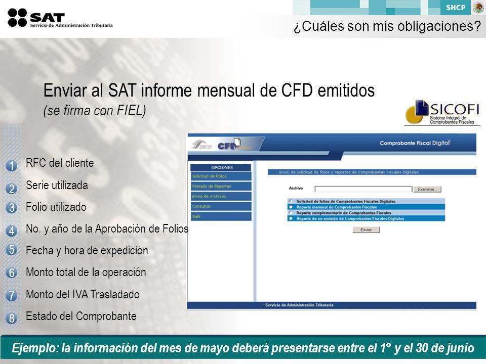 Enviar al SAT informe mensual de CFD emitidos (se firma con FIEL)