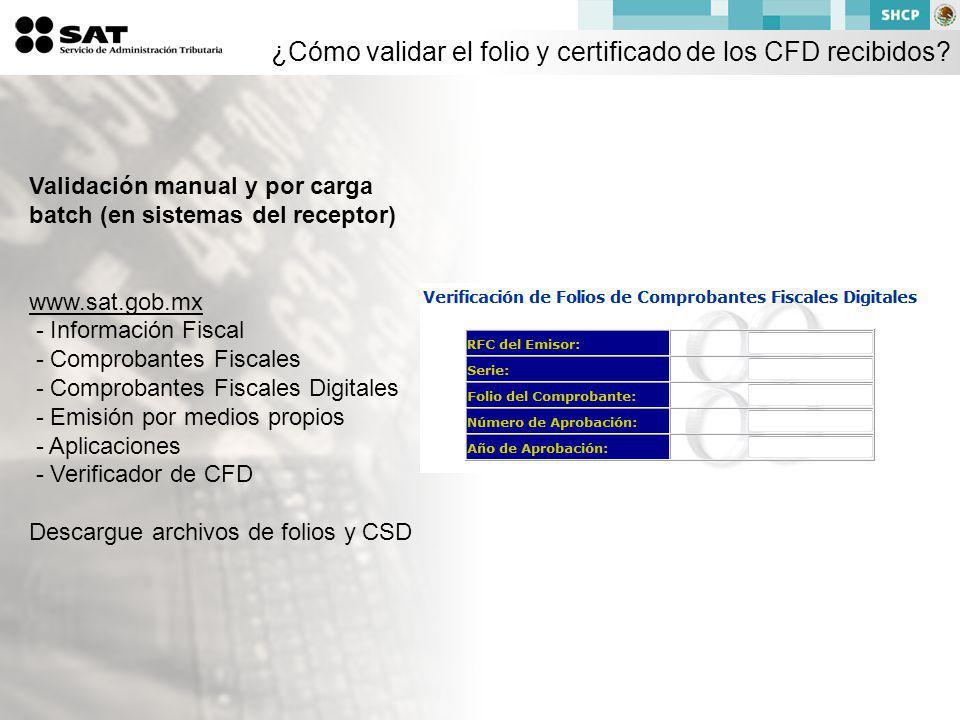 ¿Cómo validar el folio y certificado de los CFD recibidos