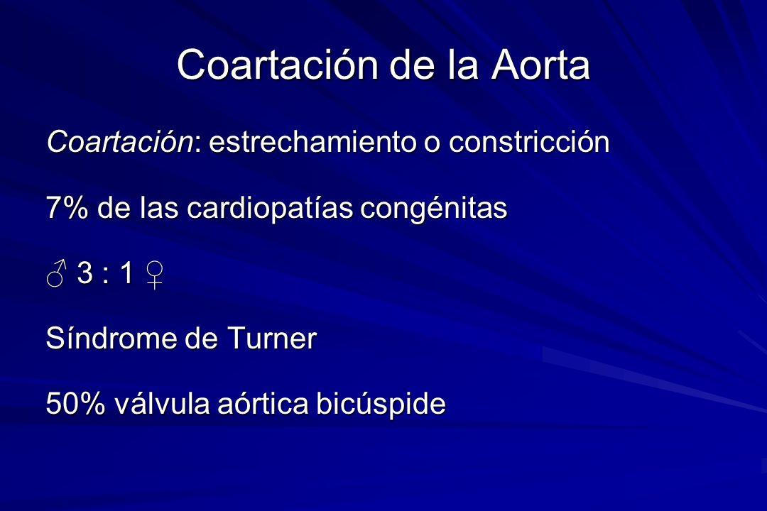 Coartación de la Aorta Coartación: estrechamiento o constricción
