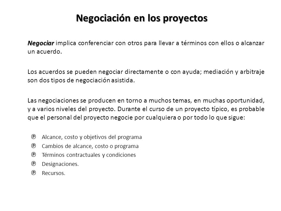 Negociación en los proyectos