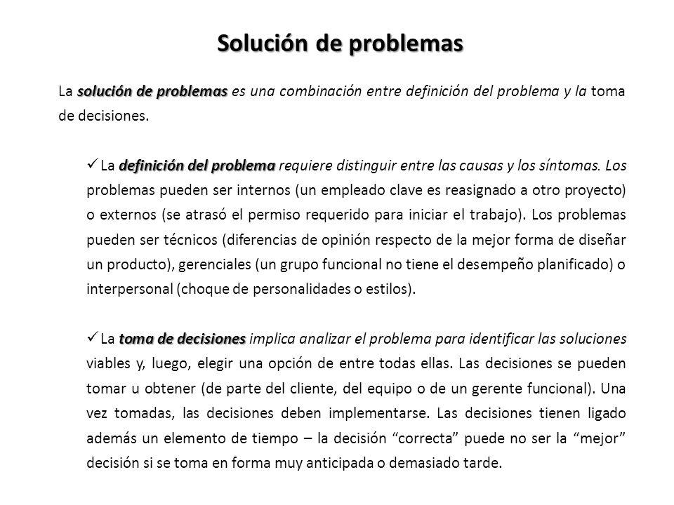 Solución de problemas La solución de problemas es una combinación entre definición del problema y la toma de decisiones.