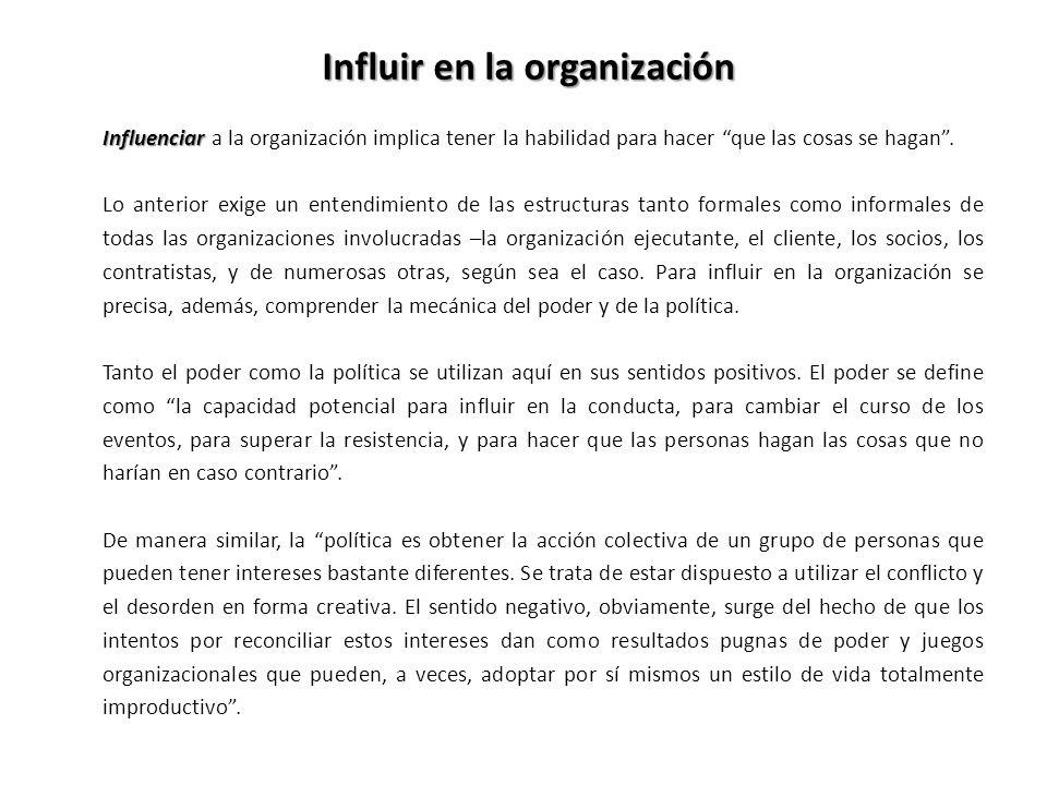 Influir en la organización