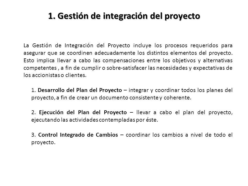 1. Gestión de integración del proyecto