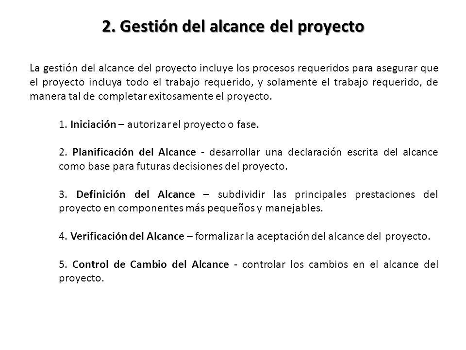 2. Gestión del alcance del proyecto