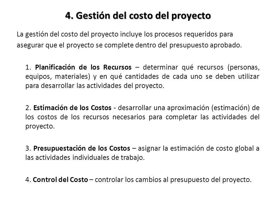 4. Gestión del costo del proyecto