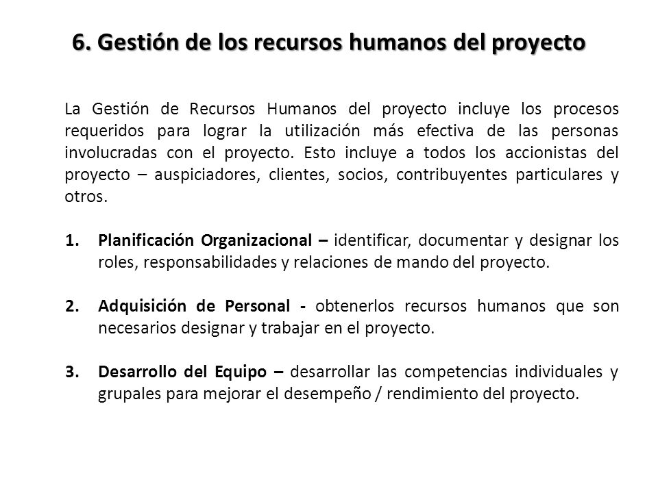 6. Gestión de los recursos humanos del proyecto