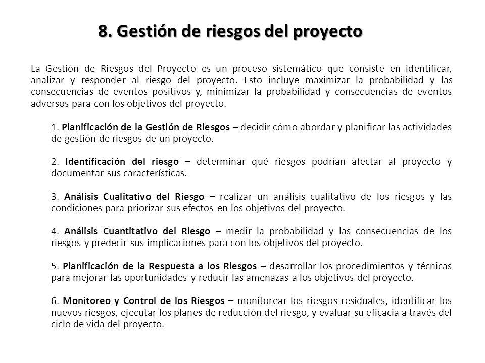 8. Gestión de riesgos del proyecto