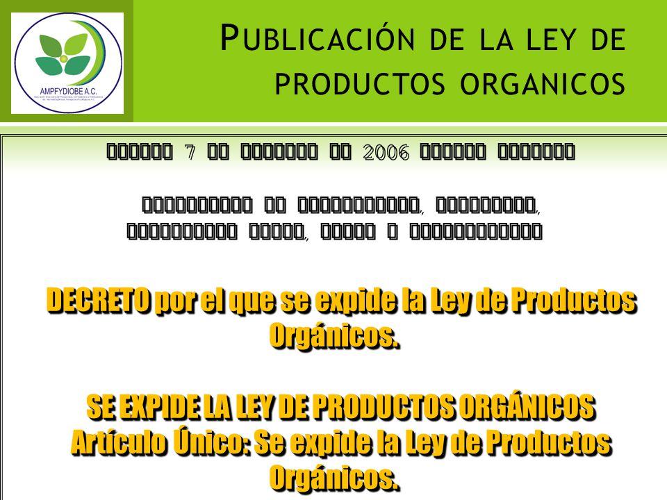 Publicación de la ley de productos organicos
