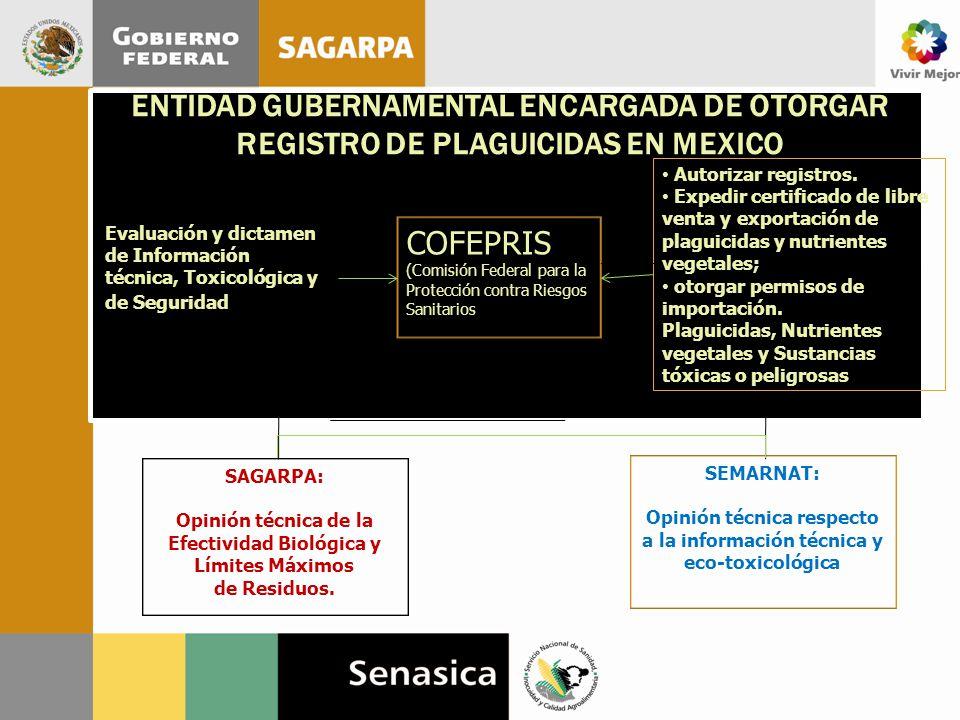 Opinión técnica respecto a la información técnica y eco-toxicológica