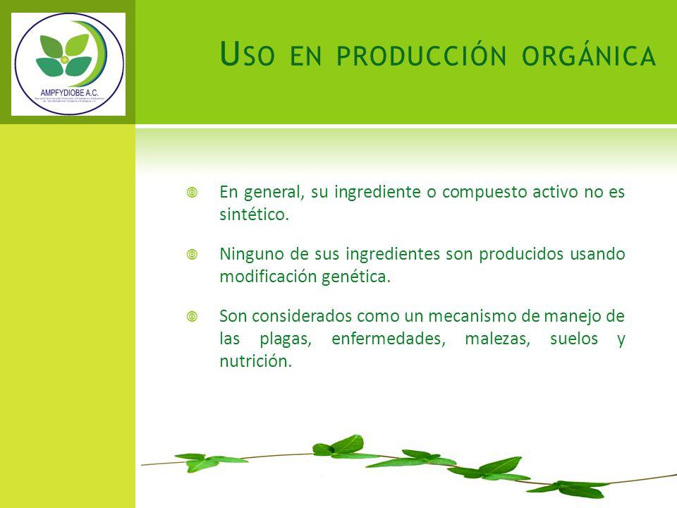 Uso en producción orgánica