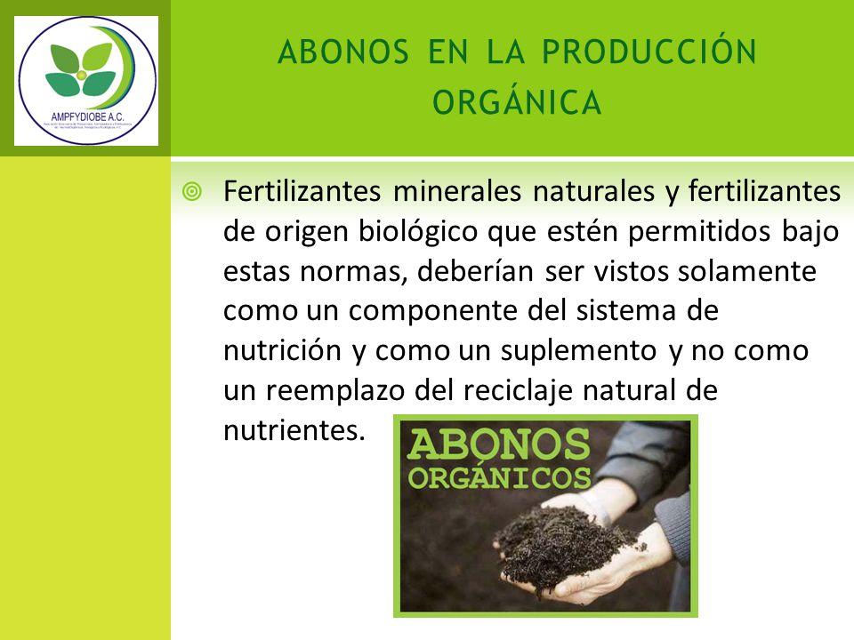 abonos en la producción orgánica