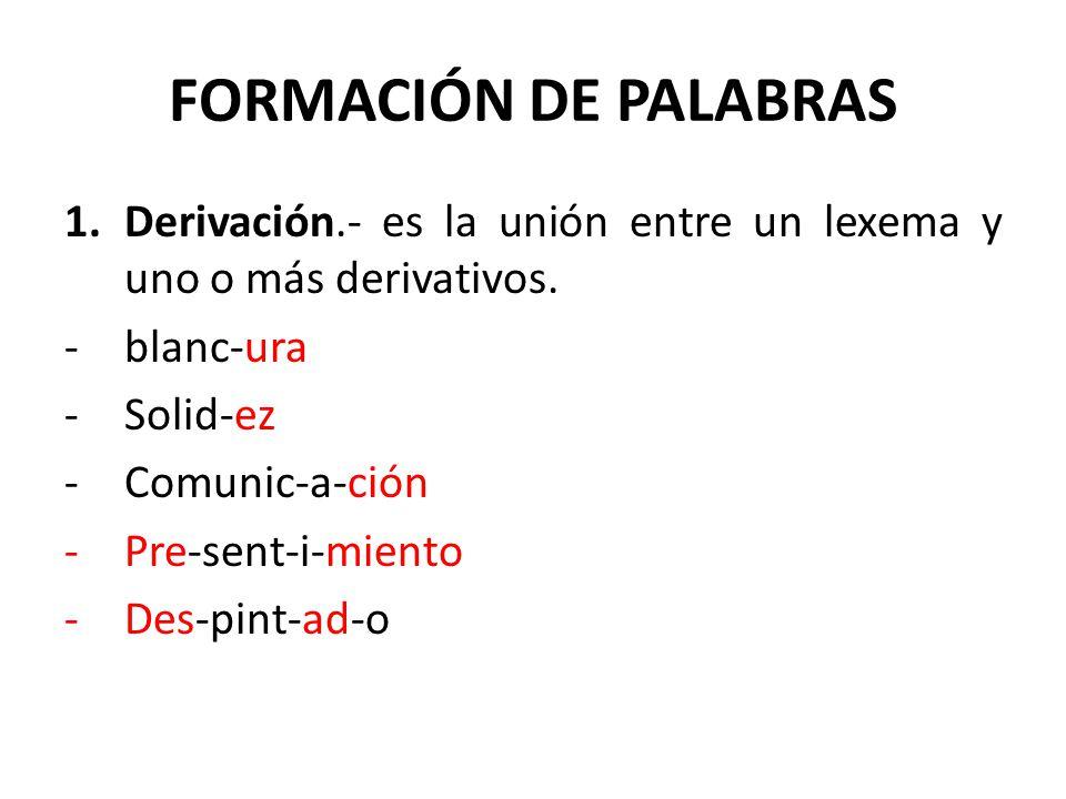 FORMACIÓN DE PALABRAS Derivación.- es la unión entre un lexema y uno o más derivativos. blanc-ura.