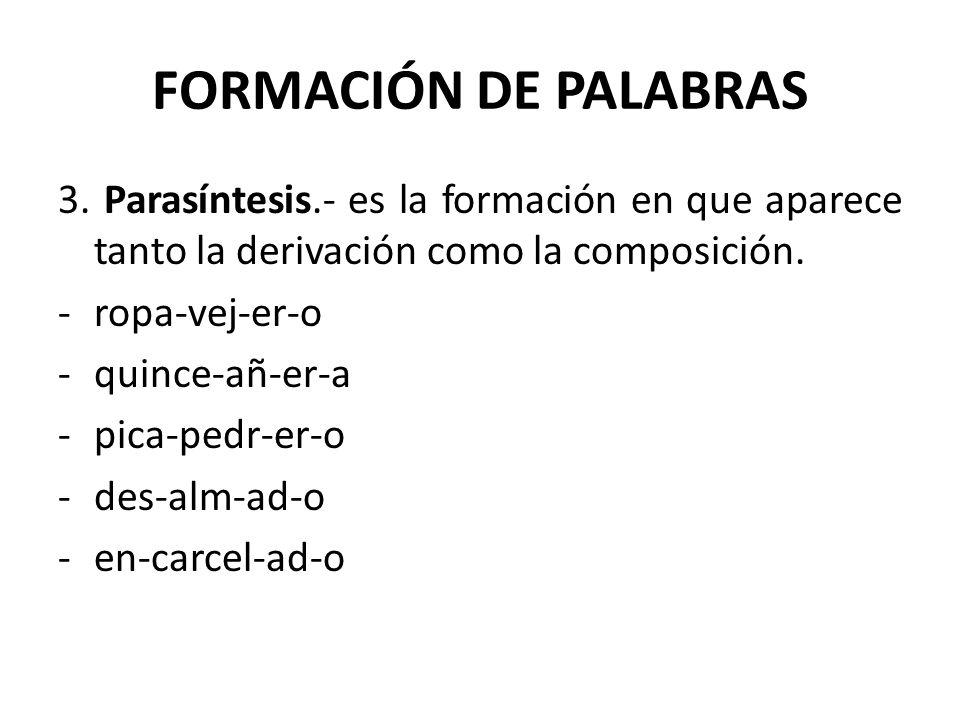 FORMACIÓN DE PALABRAS 3. Parasíntesis.- es la formación en que aparece tanto la derivación como la composición.
